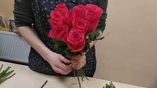 Собираем букет из розы 129, видеоурок, мастер класс. Часть 2