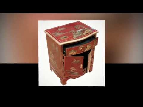 Oriental Chinese Furniture Red Artistry Bedside Cabinet