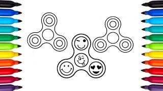 Fidget spinner colouring page : Coloring Pages for kids and Children - How to Draw Set of Spinners