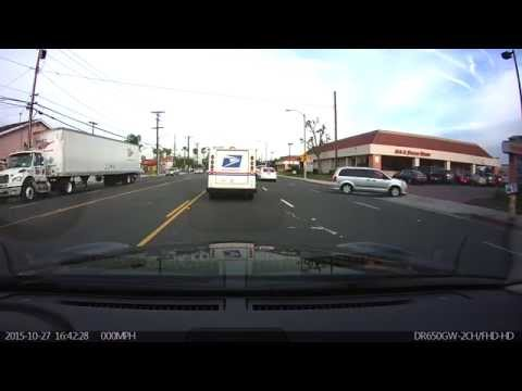 Woman Driver gets t-boned (accident in Garden Grove, CA)