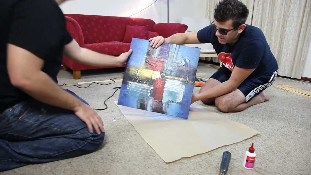 how to build a wooden frame to mount your canvas art youtube