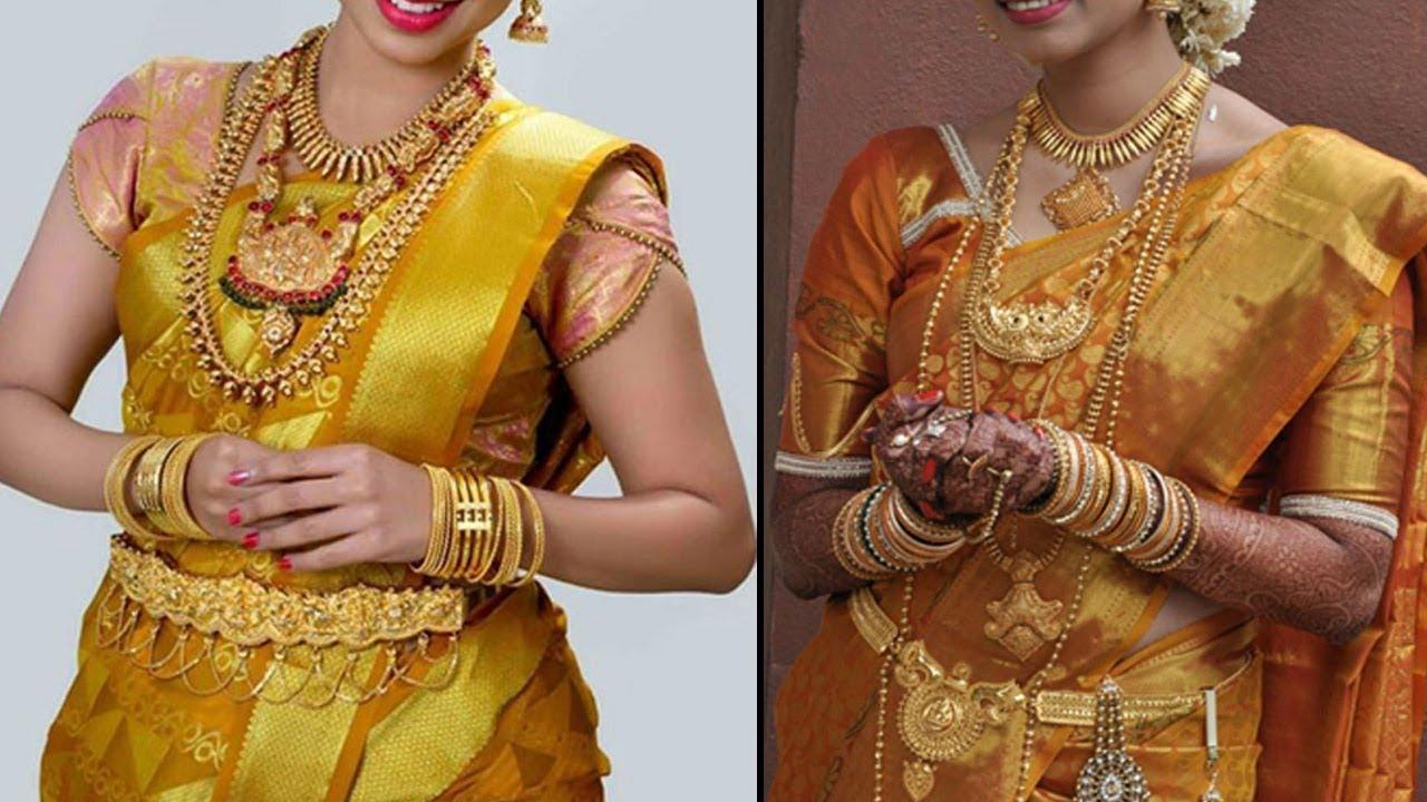 Gold Colour Pattu Saree Colletion 2019 Bridal Collection 2018 Wedding Silk Sarees