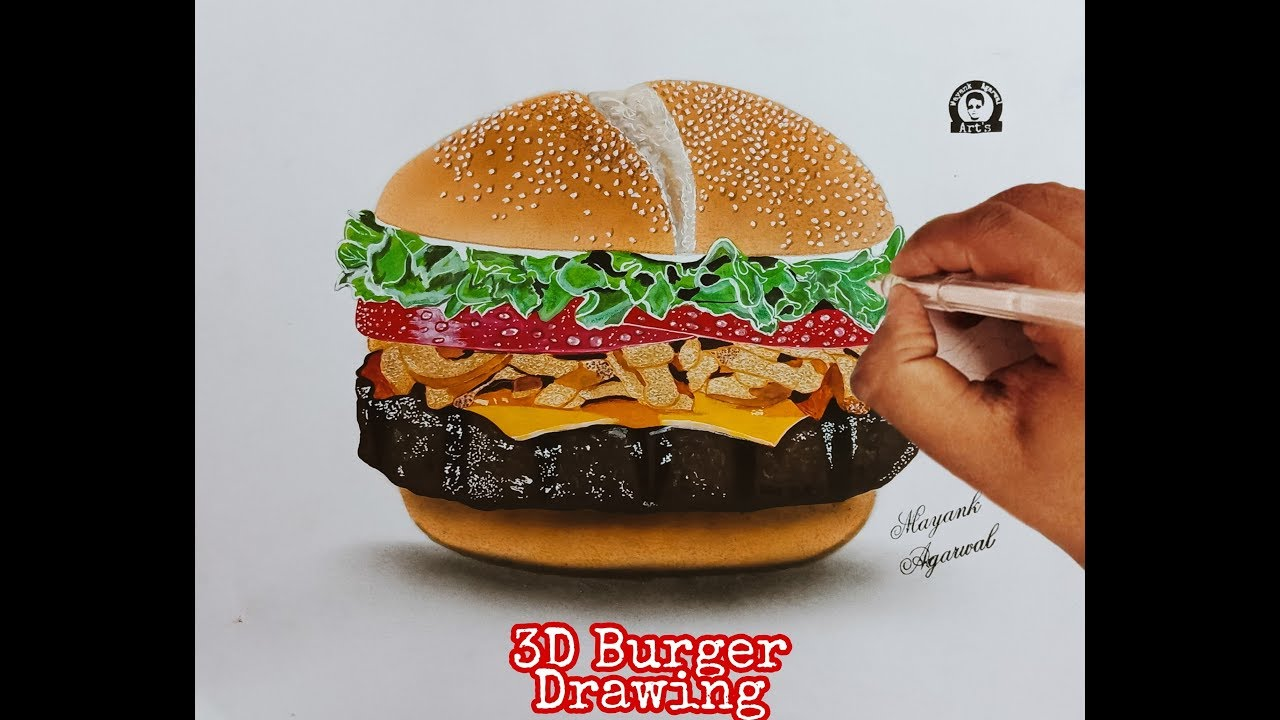 Realistic 3d burger drawing how to draw 3d burger timelapse