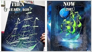 Green ship THEN and NOW - My SPRAY PAINT progress