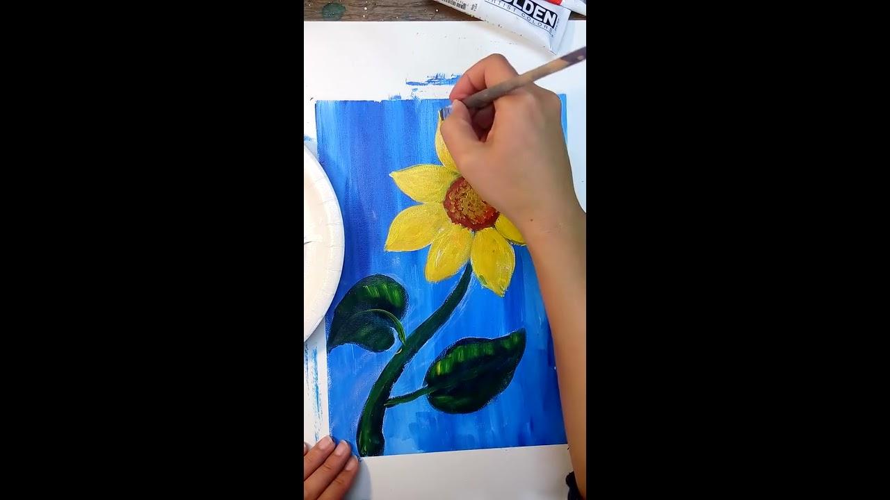Sunflower painting for kids, vẽ hoa hướng dương 🌻