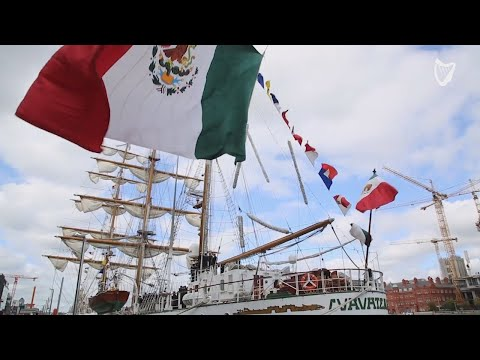 WATCH: President Higgins welcomes Mexican Tall Ship crew to Dublin