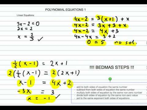 How To Solve Linear And Quadratic Polynomial Equations Part 1 Youtube