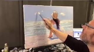 Девушка сидит у моря, картина маслом