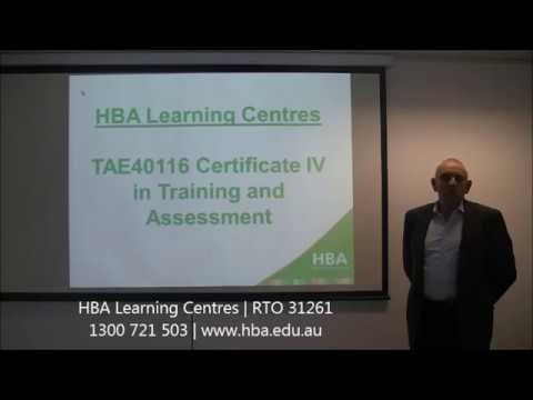 HBA Blended Delivery: TAE40116 Certificate IV In Training And Assessment
