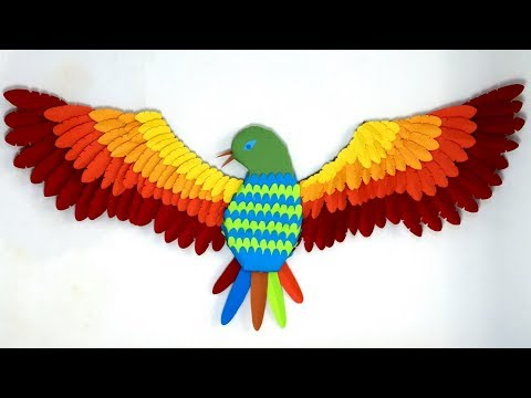 Easy 3D Paper Bird making - DIY paper bird for wall decoration