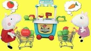 Peppa pig en español: la cerdita en casa monta un supermercado de frutas y verduras con sus amigos