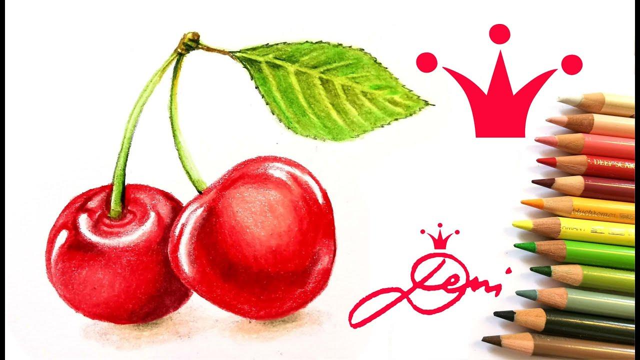 Kirschen realistisch zeichnen mit Buntstiften 🍒 How tor draw realistic cherries with colored pencils