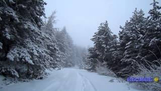"""Winter snowy mountains """"As the Snow Falls"""" Driving in snowy Greek mountains"""