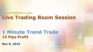 11 08 2019 USD/CAD 1m Trend Trade  +10 Pips FibMatrix Online Forex Trading Software Live Trade Room