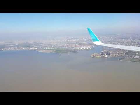 Aproximación final y aterrizaje en Aeroparque Jorge Newbery, Buenos Aires. HD