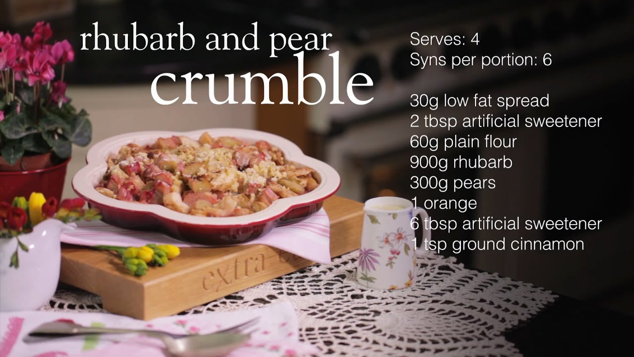 Slimming world rhubarb and pear crumble recipe youtube Slimming world slimming world