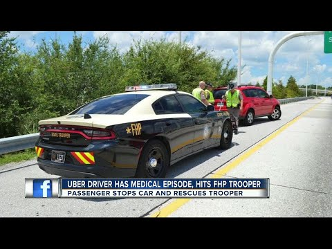 Uber driver has medical episode, hits FHP Trooper