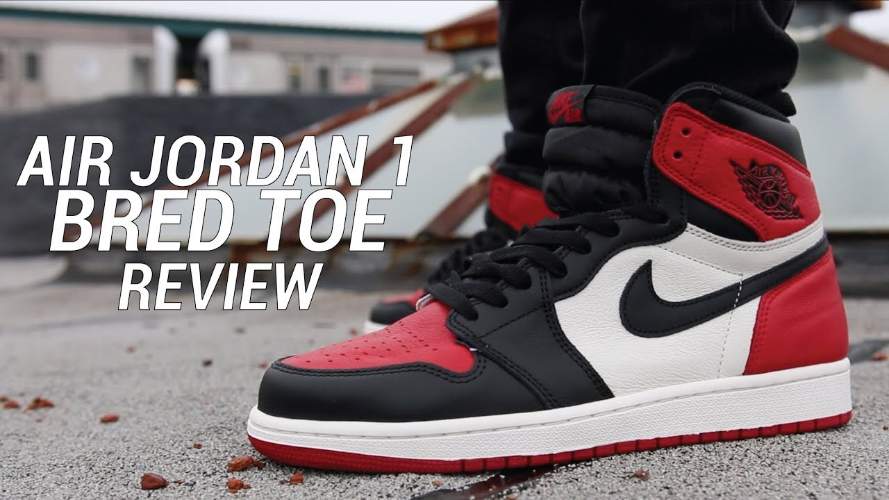 0dea6fbbbe9 AIR JORDAN 1 BRED TOE REVIEW - YouTube
