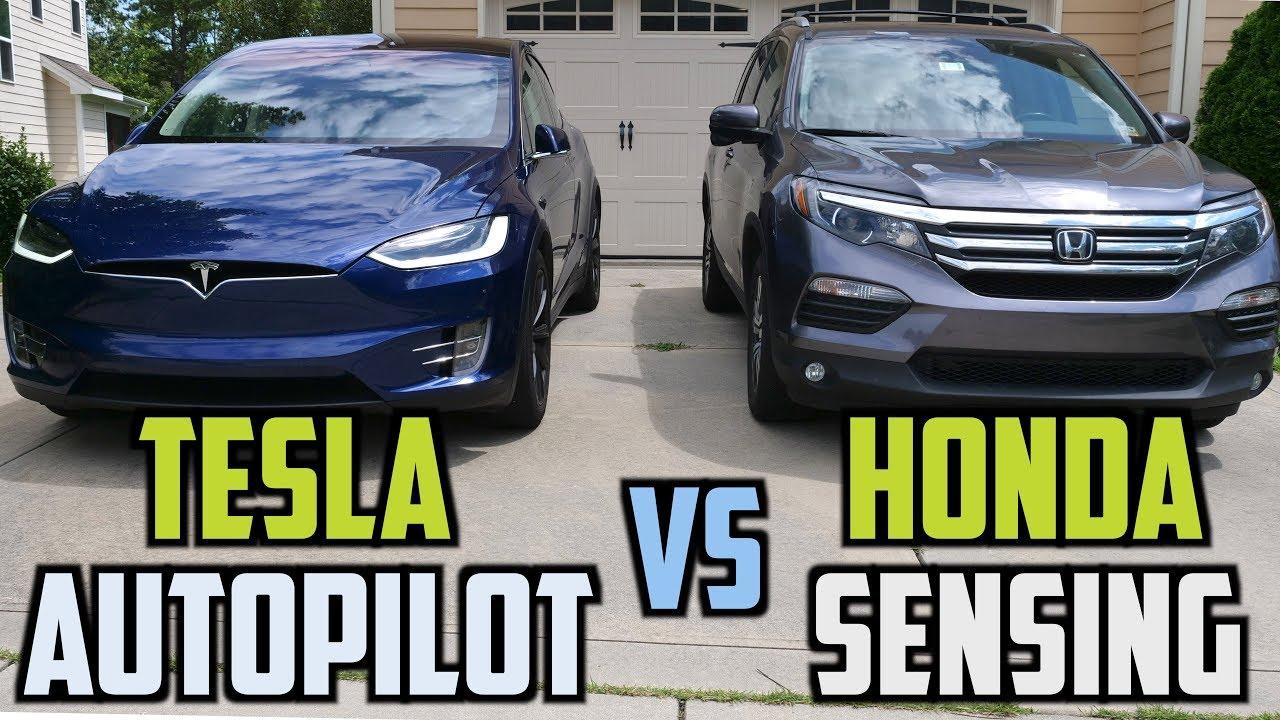 Tesla Autopilot vs Honda Sensing - YouTube