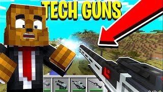 2 PLAYER MODDED MINECRAFT BED WARS *GAUSS RIFLE TECH GUN MOD* w/ FavreMySabre