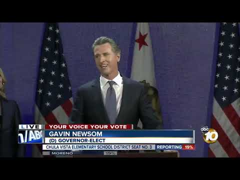 Gavin Newsom gives Election Day speech, blasts Trump
