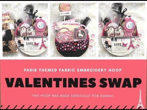 Valentines Paris Themed Fabric Loaded Embroidery Hoop made especially for Ronda Garry
