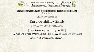 Employability Skills | Workshop | Inaugural  Session | DSW | MANUU