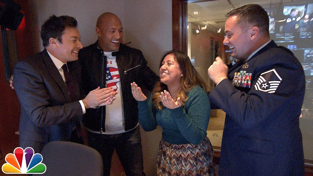 Jimmy and dwayne johnson surprise tonight show staffer with jimmy and dwayne johnson surprise tonight show staffer with military homecoming youtube m4hsunfo