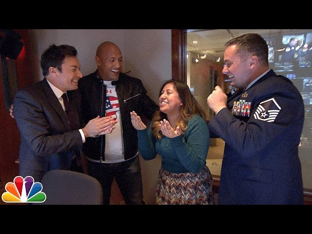 Jimmy and Dwayne Johnson Surprise Tonight Show Staffer with Military Homecoming