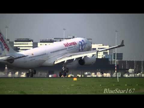 Air Europa Airbus A330-200 (EC-LQO) landing at AMS/EHAM (Amsterdam Airport Schiphol) RWY 06
