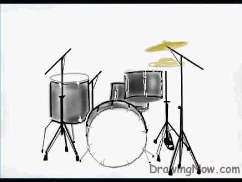 How To Draw A Drum Set Youtube