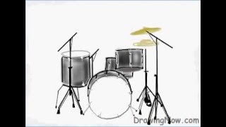 How to draw a Drum Set