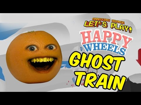 Happy Wheels - Annoying Orange Ghost Train!