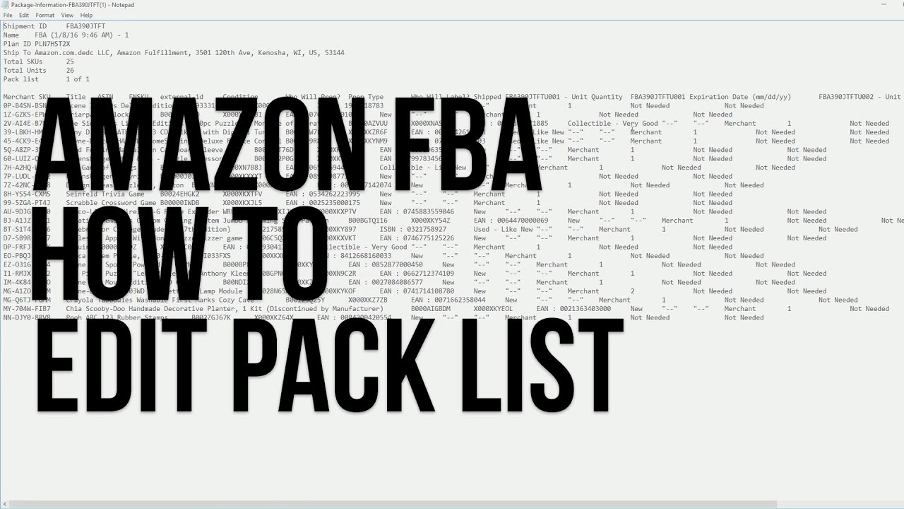Fba Template | Amazon Fba Pack List Template Youtube