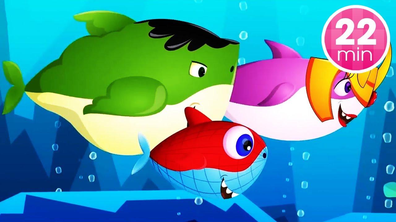 Learn Colors and Baby Shark Superheros - Baby Shark Dance  + More Nursery Rhymes & Kids Songs