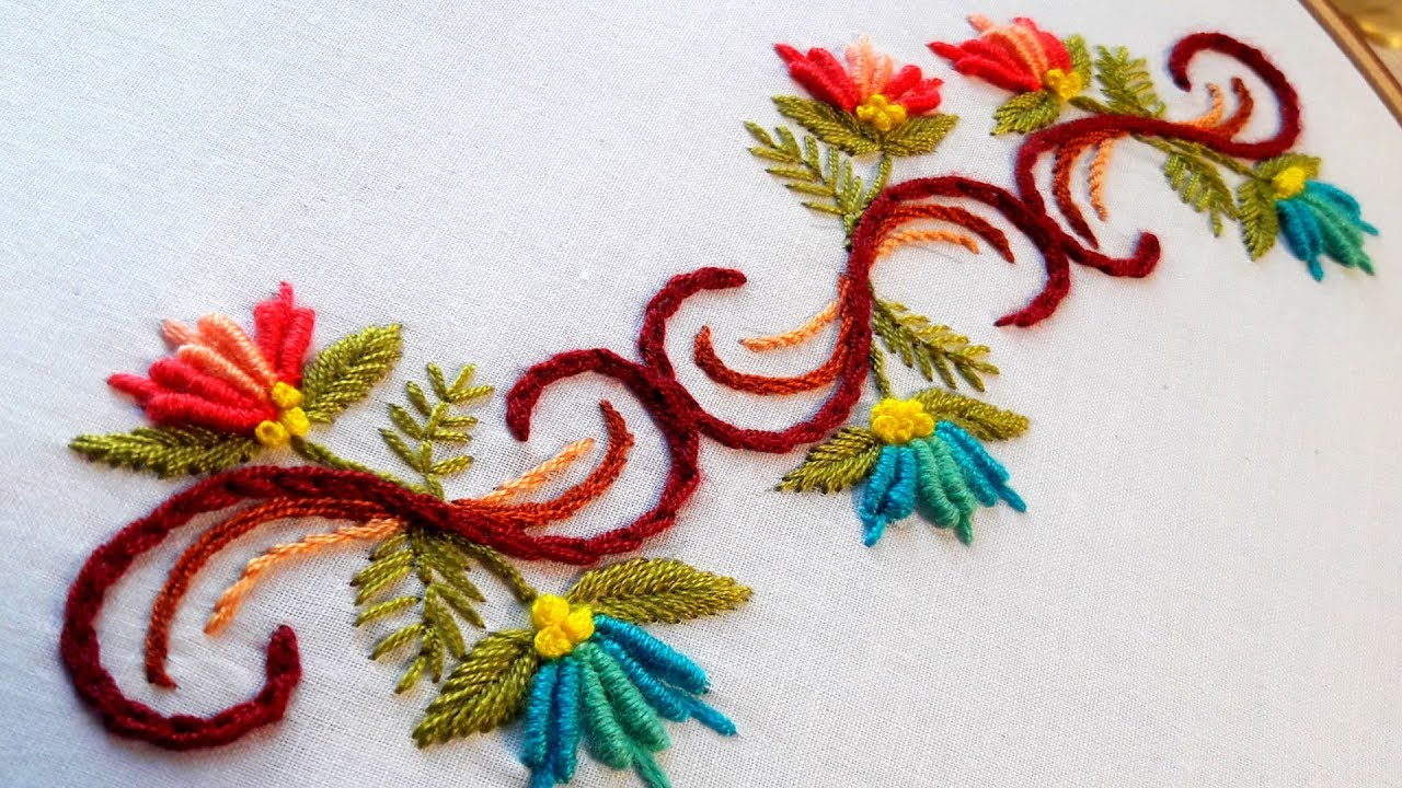 Hand Embroidery Designs Border Line Tutorial By Nakshi Katha Youtube