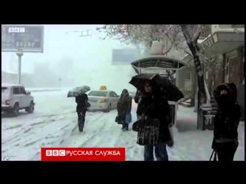 Неожиданный снегопад в Ереване