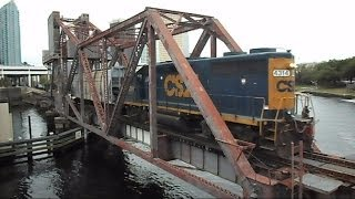 CSX Train Crosses Historic Drawbridge Then Raises After