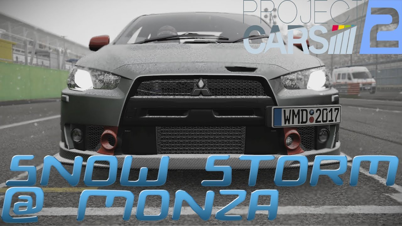 PROJECT CARS 2 (PC) Mitsubishi Lancer EVO X SNOW STORM Gameplay @ Monza  [REPLAY 1080P 60FPS]