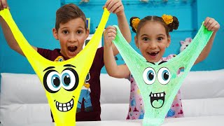 Anna Pretend Play Making Colorful Satisfying Slime