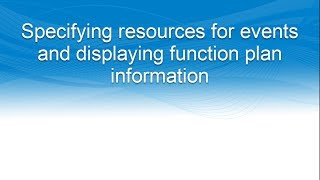 Specifying resources for events and displaying function plan information in iMIS Enterprise