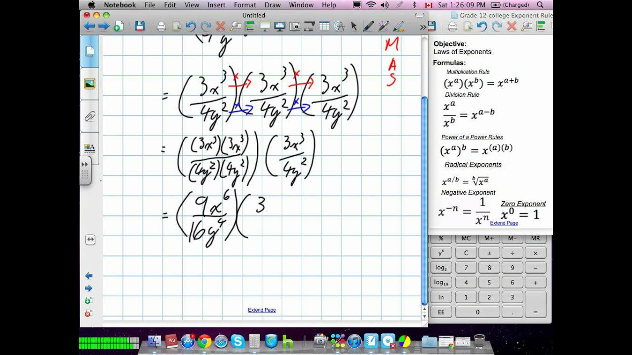 Exponent Laws Grade 11 Mixed Lesson 7 2 42812 Youtube