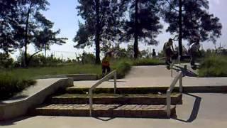 Fifty de back, Rock slide and Boardslide to fake