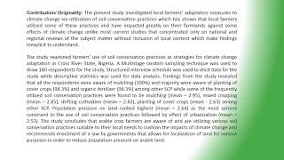Use of soil conservation practices for climate change adaptation among arable crop farmers in cross