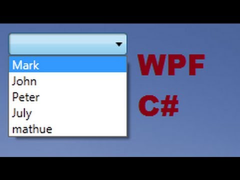 C# WPF Tutorial 14- How to Link Combobox with Database values