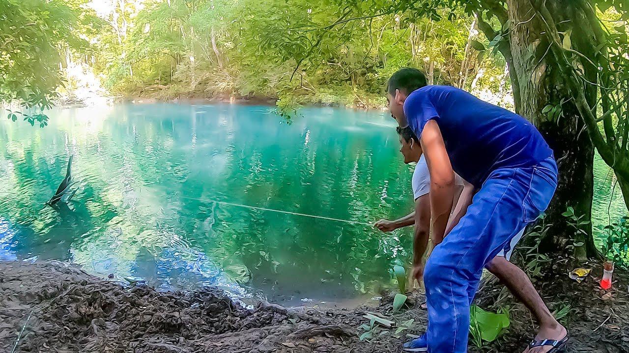 Pesca con línea de mano y caña Pesca y Cocina de bagres en chiles Rellenos