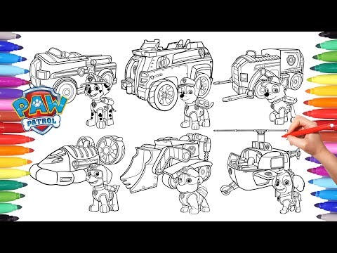 Paw Patrol Vehicles Coloring Pages For Kids How To Color All Paw