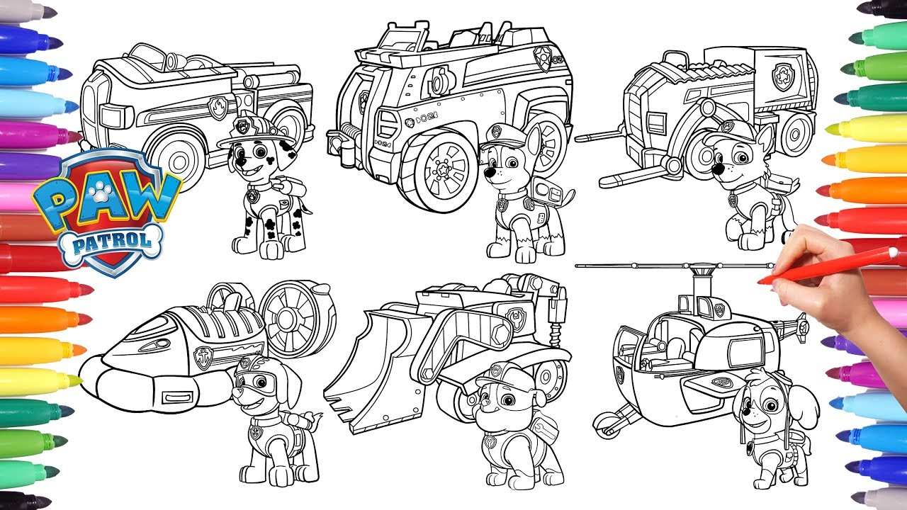 Paw Patrol Vehicles Coloring Pages For Kids How To Color All