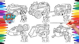 PAW PATROL + VEHICLES Coloring Pages for Kids | How to Color All Paw Patrol and All their Vehicles