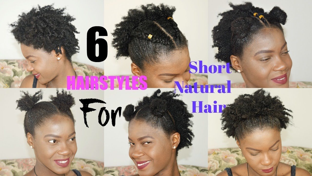 6 QUICK & EASY Everyday Natural Hairstyles for Short / Medium / TWA ...